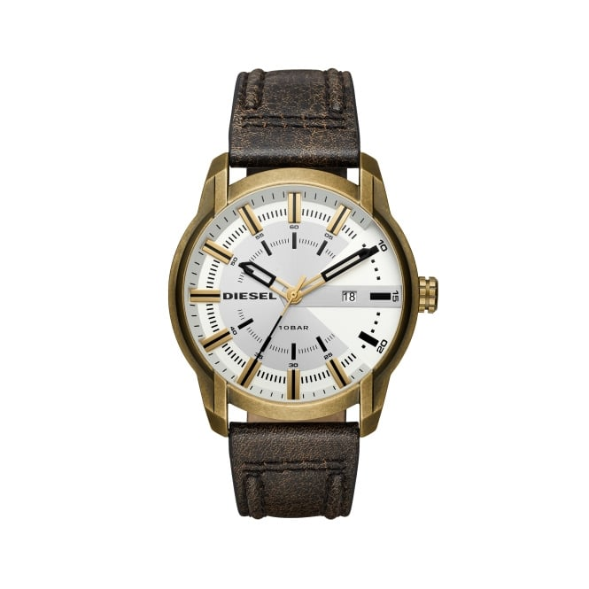 Diesel Brown Leather Strap Armbar Watch