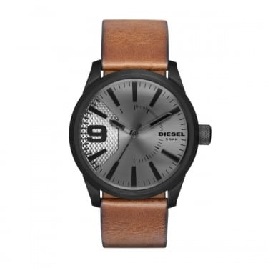 Diesel Brown Leather Strap Rasp Watch