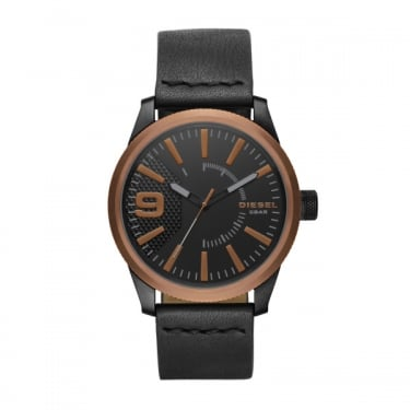 Diesel Gents Black Leather Rasp Watch
