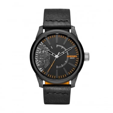 Diesel Gents Black Leather Rasp Watches