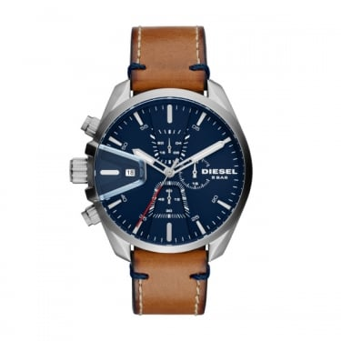 Diesel Gents Brown Leather Navy Face Chrono Watch