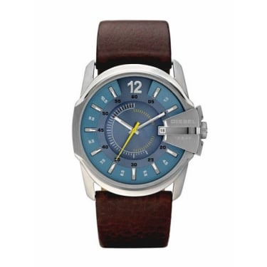 Diesel Gents Goose Brown Leather Strap Blue Face Watch
