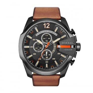 Diesel Gents Nubuck MegaChief Brown Leather Strap Watch