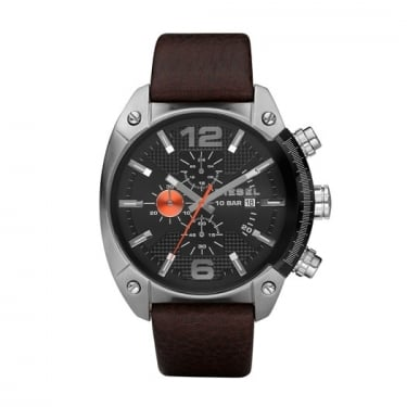 Diesel Gents Overflow Brown Leather Strap Watch