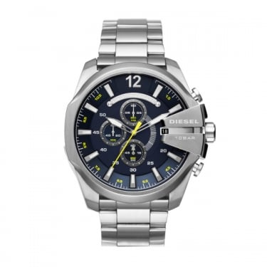 Diesel Gents Silver Navy Mega Chief Watches