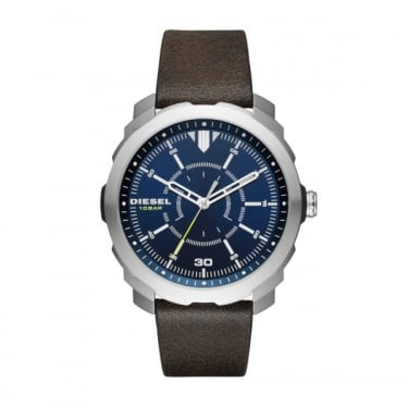 Diesel Grey Leather Strap Navy Face Machinus Watch