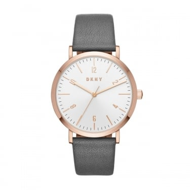 DKNY Ladies Minetta Grey Leather Watch