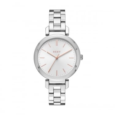 DKNY Ladies Silver Rose Gold Dial Ellignton Watch