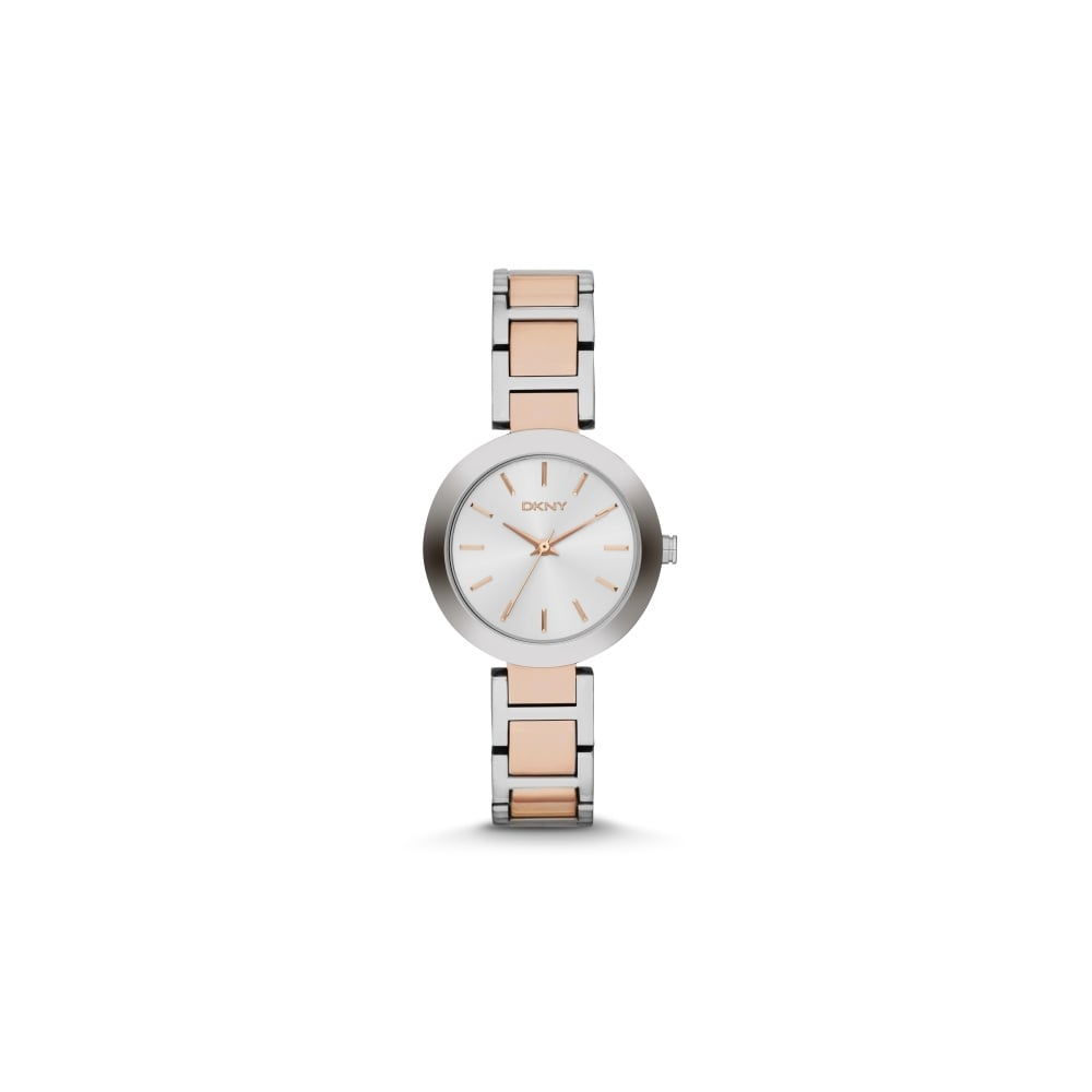 DKNY Ladies Stanhope Two Tone Rose Gold and Silver Watch - Watches ... 33410499cb9