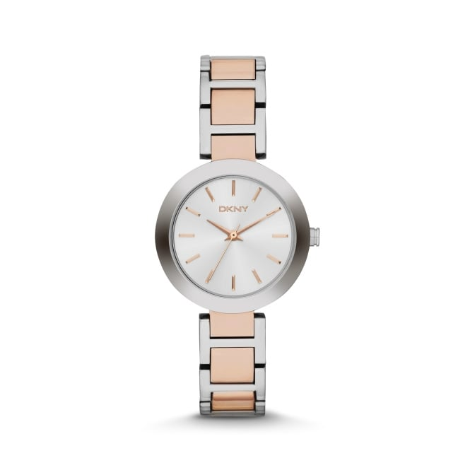 DKNY Ladies Stanhope Two Tone Rose Gold and Silver Watch