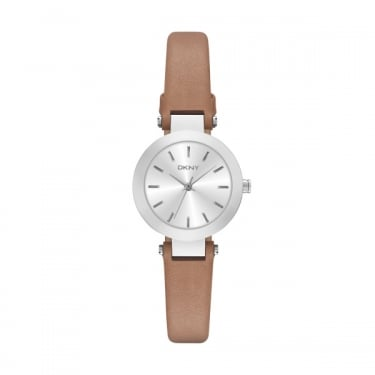 DKNY Stanhope Silver Face Leather Brown Strap Watch