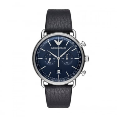 Emporio Armani Gents Black Leather Navy Face Aviator Watch