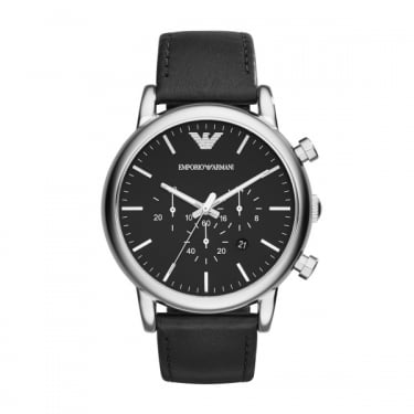Emporio Armani Gents Black Leather Strap and Face Watch