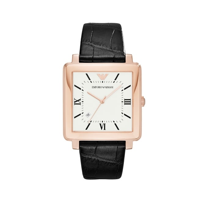 Emporio Armani Gents Modern Square Black Leather Watch