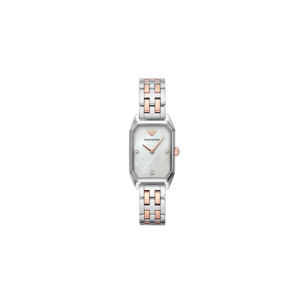 b0961fa757a Emporio Armani Ladies Gioia Silver Rose Gold Watch - Watches from ...