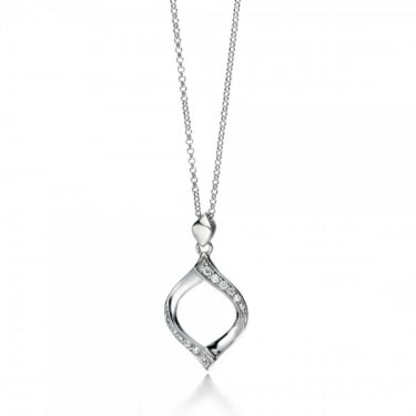 Fiorelli Sterling Silver CZ Ribbon Necklace
