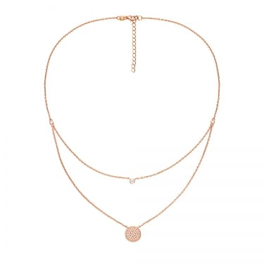 Folli Follie Rose Gold Plated Sterling Silver Essentials Sparkle Ball Double Chain Necklace