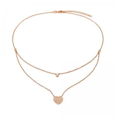 Folli Follie Rose Gold Plated Sterling Silver Stories Love Hearts Double Chain Necklace