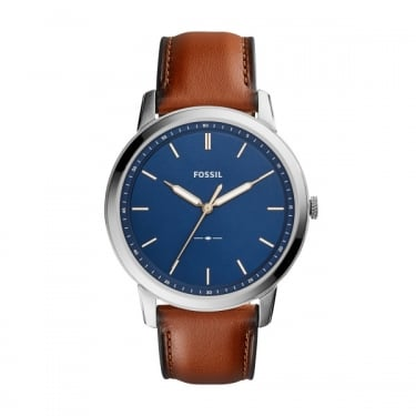 Fossil Gents Brown Leather Strap Navy Face Minimalist Watch