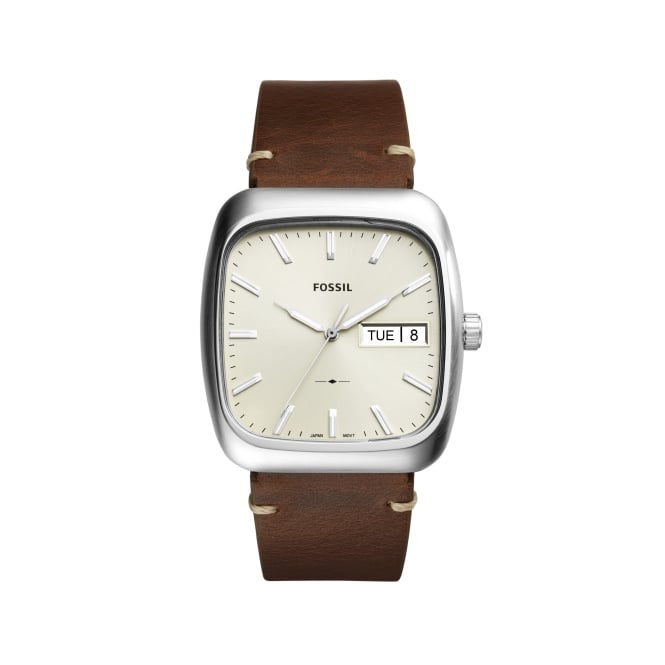 Fossil Gents Brown Leather Strap Rutherford Watch