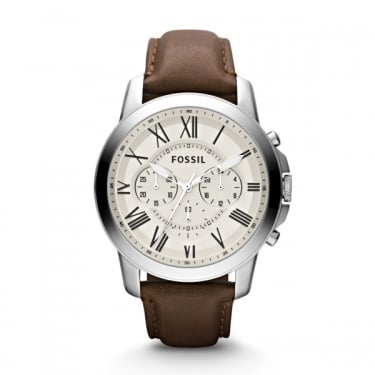 Fossil Gents Grant Brown Leather Strap Watch