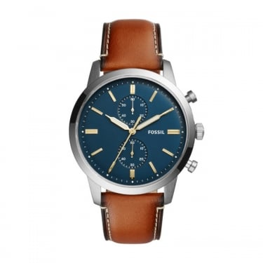 Fossil Gents Navy Face Brown Leather Strap Townsman Watch