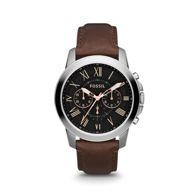 Fossil Grant Brown Leather Strap Watch