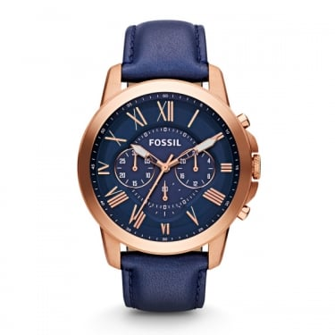 Fossil Grant Navy Leather Strap Watch