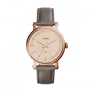 Fossil Grey Leather Strap Rose Gold Face Original Boyfriend Watch