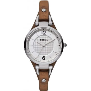 Fossil Ladies Brown Leather Strap Watch