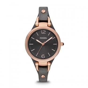 Fossil Ladies Georgia Smoke Leather Strap Watch