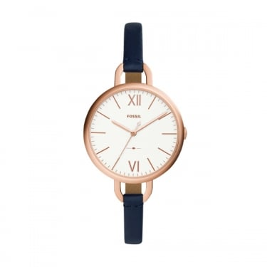 Fossil Ladies Navy Leather Annette Watch