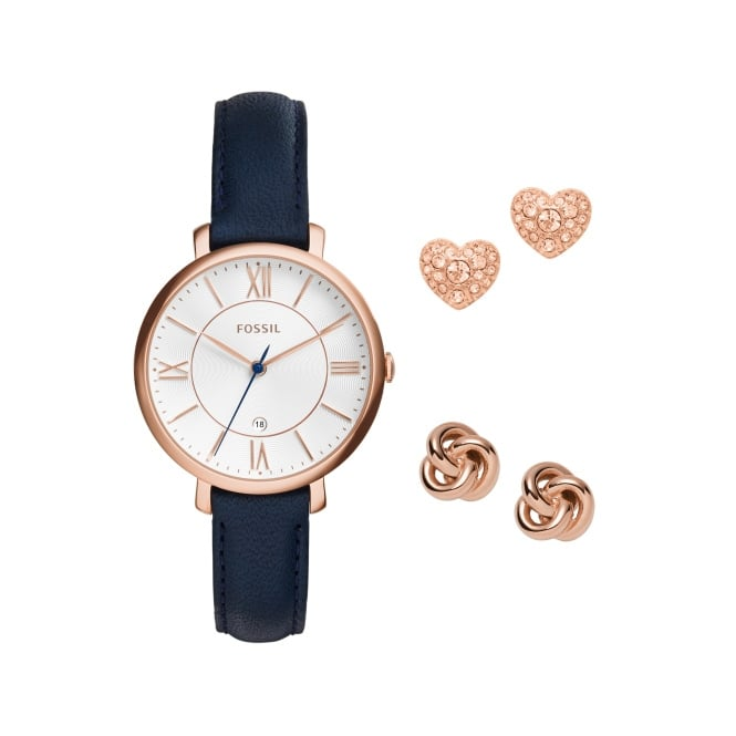 Fossil Ladies Navy Leather Strap Jaqueline Box Set