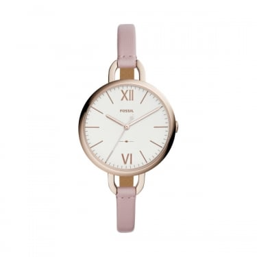 Fossil Ladies Pink Leather Annette Watch