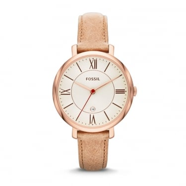 Fossil Ladies Pink Leather Strap Watch