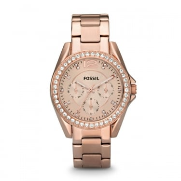 Fossil Ladies Riley Rose Gold Watch