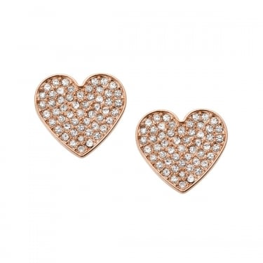 Fossil Ladies Rose Gold CZ Vintage Glitz Earrings