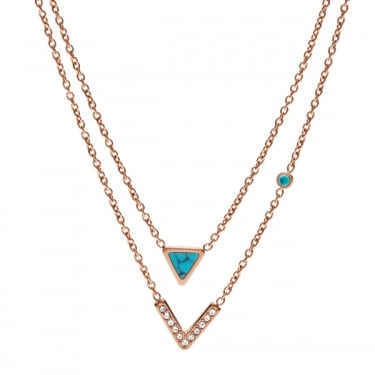 Fossil Ladies Rose Gold Double Triangle Necklace