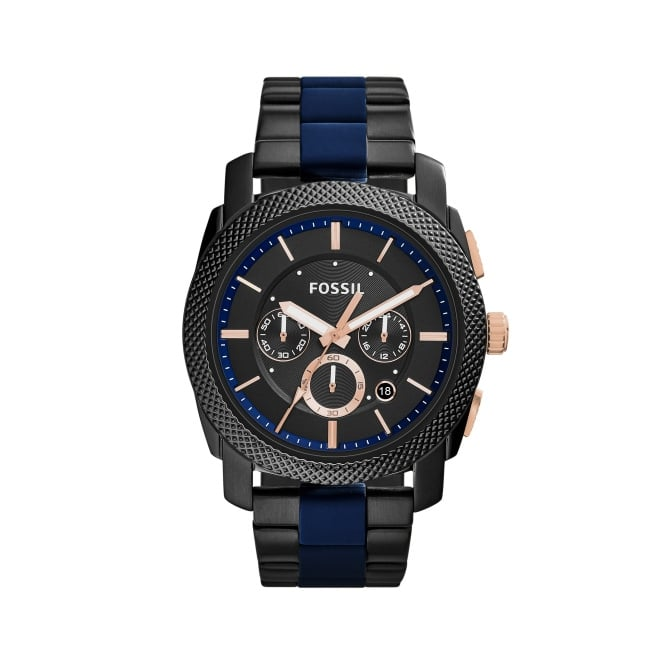 Fossil Mens Casual Machine Black and Navy Watch