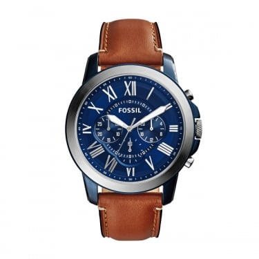 Fossil Mens Silver Dress Grant Blue Face Leather Strap Watch