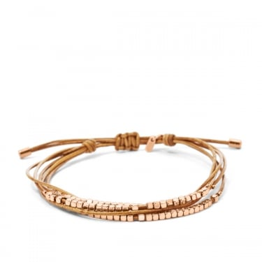 Fossil Rose Gold Tan Leather Fashion Bracelet