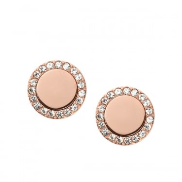 Fossil Rose Gold Tone Cubic Zirconia Halo Earrings Jewellery