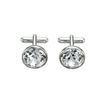 Fred Bennet Silver Plate Clear Round Cufflinks