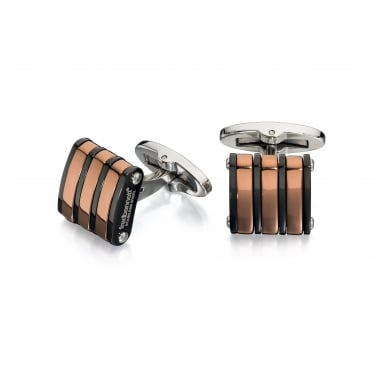Fred Bennett Black/Brown Striped Cufflinks