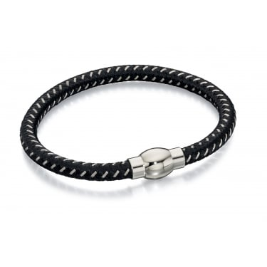 Fred Bennett Black Leather Twist Bracelet