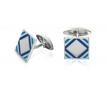 Fred Bennett Blue Epoxy Square Patterned Cufflinks