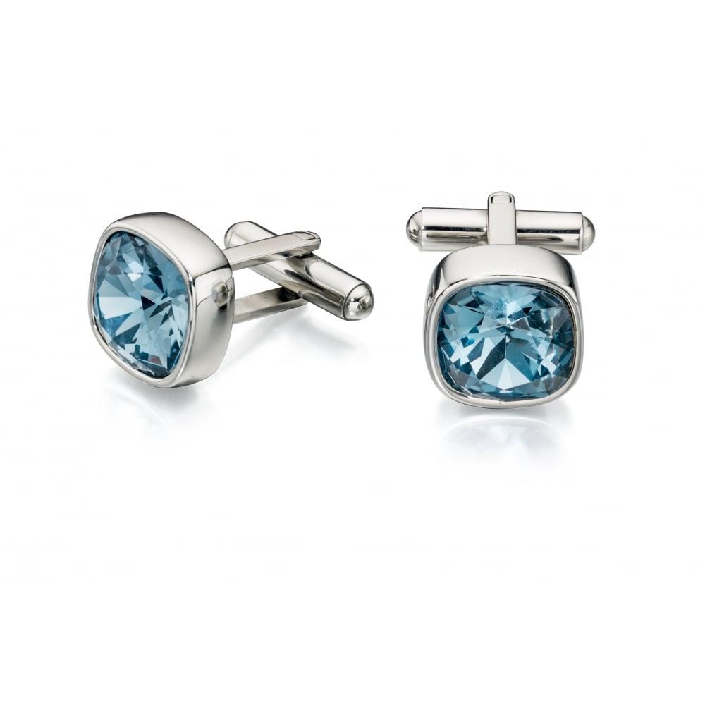 programa tema La Iglesia  Fred Bennett Blue Steel Denim Swarovski Crystal Cufflinks - Gifts from  Faith Jewellers UK