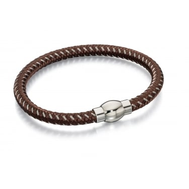 Fred Bennett Brown Leather Twist Bracelet