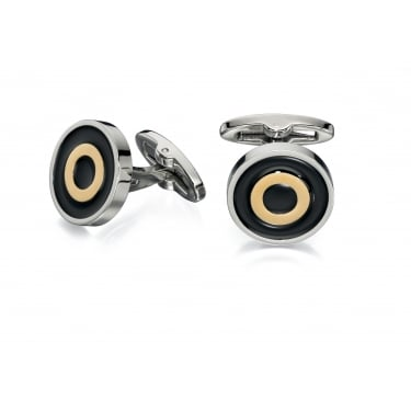 Fred Bennett Gold and Black Enamel Round Cufflinks