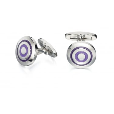 Fred Bennett Purple Enamel Round Cufflinks